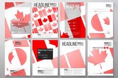 Bedrijfsmalplaatjes voor brochure, vlieger of boekje Nationale Vlag van de Dag van Canada Samenvatting gestippelde vectorachtergr royalty-vrije illustratie
