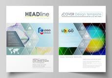 Bedrijfsmalplaatjes voor brochure, vlieger, boekje, rapport Dekkingsmalplaatje, vlakke vectorlay-out in A4 grootte Kleurrijk ontw royalty-vrije illustratie