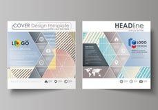 Bedrijfsmalplaatjes voor vierkant brochure, tijdschrift, vlieger, boekje of rapport Pamfletdekking, abstracte vectorlay-out vector illustratie