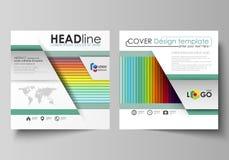 Bedrijfsmalplaatjes voor vierkante brochure, tijdschrift, vlieger, boekje Pamfletdekking, vectorlay-out Heldere kleurenrechthoeke vector illustratie