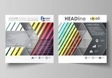 Bedrijfsmalplaatjes voor vierkante brochure, tijdschrift, vlieger Pamfletdekking, vectorlay-out Heldere kleurrijke kleurenrechtho stock illustratie