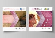 Bedrijfsmalplaatjes voor vierkante ontwerpbrochure, tijdschrift, vlieger, boekje Pamfletdekking, abstracte vectorlay-out romantis stock illustratie