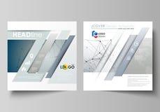 Bedrijfsmalplaatjes voor vierkante ontwerpbrochure, tijdschrift, vlieger, boekje Pamfletdekking, vectorlay-out DNA en neuronen royalty-vrije illustratie
