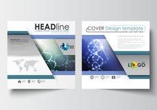 Bedrijfsmalplaatjes voor vierkante ontwerpbrochure, tijdschrift, vlieger, boekje Pamfletdekking, vlakke lay-out, gemakkelijke edi royalty-vrije illustratie