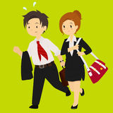 Bedrijfsman en Bedrijfsvrouw die voor het Werkillustratie meeslepen Stock Afbeelding