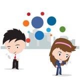 Bedrijfsman en vrouw die aan Internet voor sociaal die netwerkconcept werken, op witte achtergrond, illustratie wordt geïsoleerd Stock Fotografie