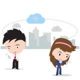 Bedrijfsman en vrouw die aan wolk gegevensverwerkingsconcept werken die met Internet-veiligheid op witte achtergrond, illustratie Stock Fotografie