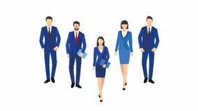 Bedrijfsmannen en vrouwensilhouet de omslagen van het de greepdocument team van de bedrijfsdiemensengroep op witte achtergrond wo royalty-vrije illustratie