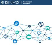 Bedrijfsmechanismeconcept Abstracte achtergrond met verbonden toestellen en pictogrammen voor strategie, de dienst, analytics, on vector illustratie