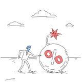 Bedrijfsmens Blinde Komst aan van de het Kredietschuld van de Percentenbom van de de Financiëncrisis de Krabbel van het het Risic vector illustratie