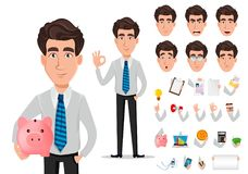 Bedrijfsmens in de kleren van de bureaustijl royalty-vrije illustratie