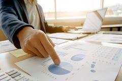 Bedrijfsmens die aan bedrijfsdocumenten, calculator en laptop op het werk werken royalty-vrije stock afbeelding