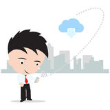 Bedrijfsmens die aan wolk gegevensverwerkingsconcept werkt die met Internet-veiligheid op witte achtergrond, illustratie wordt ge Royalty-vrije Stock Foto's