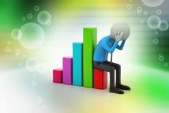 Bedrijfsmens die de financiële grafiek zitten Stock Fotografie