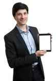 Bedrijfsmens die digitale tablet met het lege scherm voorstellen Stock Foto's