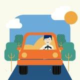 Bedrijfsmens die een auto drijven royalty-vrije stock foto's