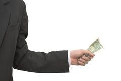 Bedrijfsmens die een dollarnota grijpen Royalty-vrije Stock Afbeelding
