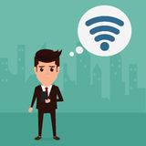 Bedrijfsmens die een Internet-verbinding zoeken om zijn zaken te steunen Royalty-vrije Stock Foto