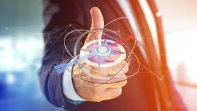Bedrijfsmens die een navigatiekompas houden - teruggegeven 3d Stock Afbeelding