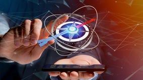 Bedrijfsmens die een navigatiekompas op een smartphone gebruiken - 3d ren Royalty-vrije Stock Afbeelding