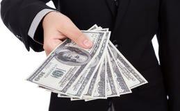 Bedrijfsmens die een Verspreiding tonen royalty-vrije stock afbeeldingen
