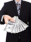 Bedrijfsmens die een Verspreiding tonen royalty-vrije stock afbeelding
