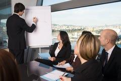 Bedrijfsmens die een wiskundige functieberekening op FL schrijven Stock Afbeeldingen