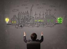Bedrijfsmens die fabriek bekijken die geld van ideeën maakt Royalty-vrije Stock Afbeelding