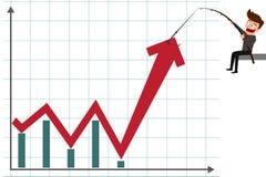 Bedrijfsmens die grafiek trekken aan het uitgaan van de groeitendens Stock Foto