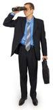 Bedrijfsmens die kostuum met zak en verrekijkers dragen Royalty-vrije Stock Foto