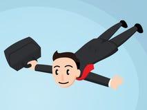 Bedrijfsmens die met Aktentas vliegen vector illustratie