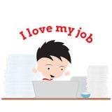 Bedrijfsmens die met notitieboekje en woord werken Stock Afbeeldingen