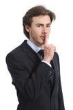 Bedrijfsmens die om stilte vragen shh Royalty-vrije Stock Foto