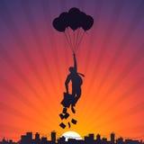 Bedrijfsmens die op ballons aan de hemel vliegen stock illustratie