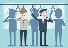 Bedrijfsmens die op telefoon, bedrijfsmensen op openbare transp spreken vector illustratie