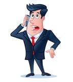 Bedrijfsmens die op Zijn Celtelefoon spreken vector illustratie
