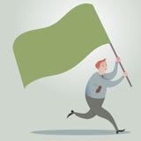 Bedrijfsmens die vooruit met golvende vlaggen lopen Stock Afbeeldingen