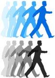 Bedrijfsmens die voorwaartse actie lopen stock illustratie