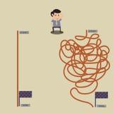 Bedrijfsmens die welke te kiezen richting verwarren vector illustratie