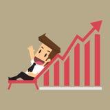 Bedrijfsmens en een grafiek die toenemen, ontspannend met het inkomen n.v. Stock Afbeelding