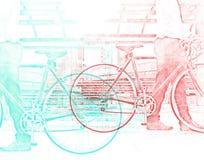Bedrijfsmens en fiets die op straatwaterverf lopen stock afbeeldingen