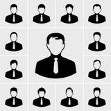 Bedrijfsmens in geplaatste kostuumpictogrammen Royalty-vrije Stock Fotografie