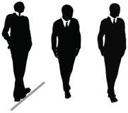 Bedrijfsmens in kostuum en bandsilhouet. Illustratie op wit Royalty-vrije Stock Foto