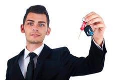 Bedrijfsmens met autosleutels Stock Foto