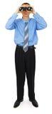 Bedrijfsmens met blauwe band met verrekijkers Stock Afbeeldingen