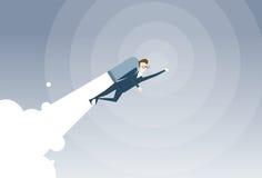 Bedrijfsmens met de Vliegende Zakenman van Jet Pack Project Successful Startup stock illustratie