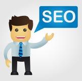 Bedrijfsmens met een woord SEO Stock Afbeelding