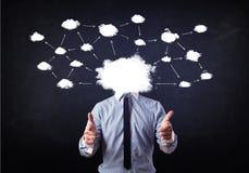 Bedrijfsmens met het hoofd van het wolkennetwerk Stock Afbeelding