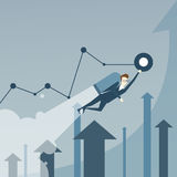 Bedrijfsmens met Jet Pack Over Finance Graph-Pijlen op Project Succesvol Startconcept Stock Afbeelding