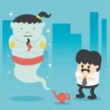 Bedrijfsmens met reus in magische lamp vector illustratie